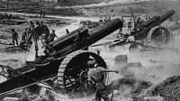 Royal Field Artillery Guns in action at Vimy Ridge during the Battle of Arras during April 1917.